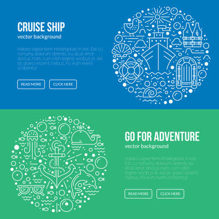 Banner r flyer template with different cruise vacation and marine life symbols. Web page template for cruise company or diving school.