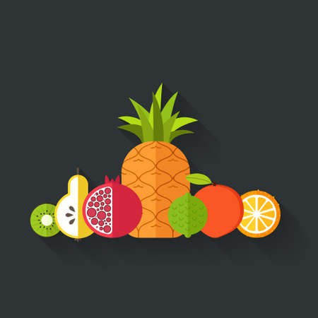 pommegranate: Collection of juicy fresh healthy fruits made in flat style - each one is isolated for easy use. Healthy lifestyle or diet vector design element. Organic farm illustration.