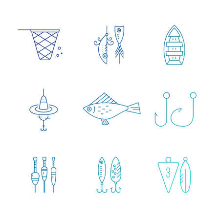 floater: Collection of different fishing gear made in modern line style vector. Bobber, tackle, floater, rod, boat and other fishermans gear. Outdoor activity symbols. Fishing equipment collection made in vector. Illustration