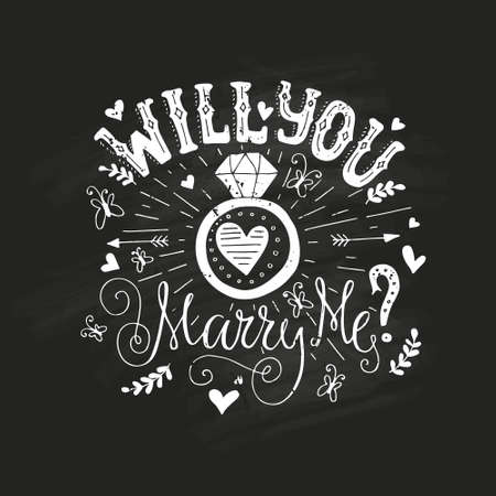 Handdrawn poster ?Marry Me? with engagement ring, hearts and swirls. Engagement party invitation. Save the date card design. Love lettering with engagement ring. Romantic handdrawn lettering. Vector art. Valentine card.