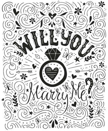 Will You Marry Me - handdrawn card with marriage proposal, wedding ring and lots of heart. Engagement party invitation. Save the date card design. Love lettering with engagement ring. Romantic handdrawn lettering. Vector art. Valentine card.