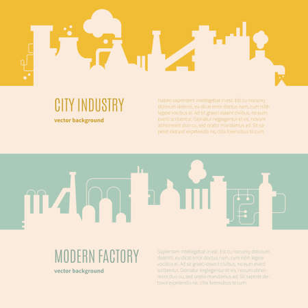 Factory building silhouettes made in vector. Flyer or banner templates with industrial buildings. Stock Illustratie
