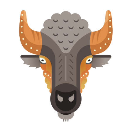 safari animal: Portrait of a buffalo made in trendy flat style vector. African animal. Safari label or t-shirt design with cute animal character.