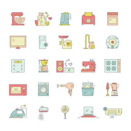 Big collection of home appliances. Kitchen appliances and technology. Dishwasher, washing mashing, fan, toaster, aircon and other house equipment. Illustration