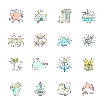 Modern line style icons with different summer adventure elements - cruise ship, anchor, dolphin, starfish and others. Nautical design elements. Cruise vacation or ocean adventure concept.