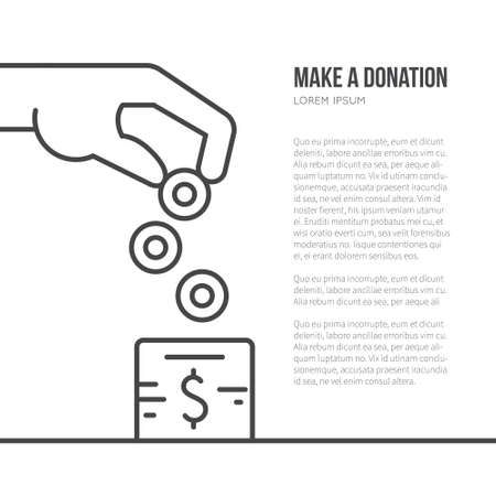 your text: Charity box and helping hand - fundraising or donation concept with place for your text. Simple and modern vector line style illustration.