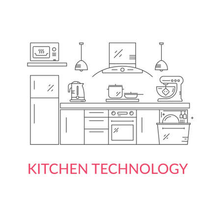 modern kitchen: Illustration of modern kitchen with different kitchen and house appliances.