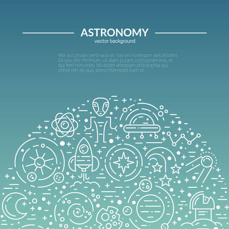alien planet: Vector template for banner, flyer, hero illustration with different space and universe elements. Planets, spaseship, shuttle, meteorite - lots of cosmos clipart objects. Illustration