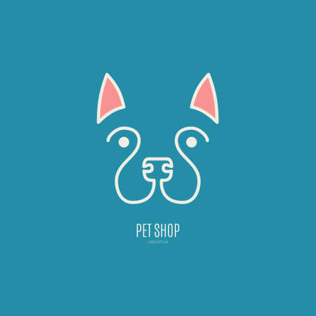 dog walker: Single logo with dog portrait drawn in simple lines for veterinarian clinic, pet shop, dog walker, dog training. Easy to use and edit. Vector logo series.