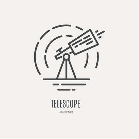 トレンディなライン スタイルのベクトルで作られた望遠鏡ロゴ。  イラスト・ベクター素材