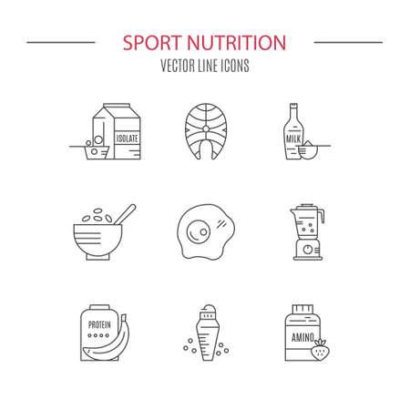 Inzameling van pictogrammen met sportvoeding objecten. Stock Illustratie