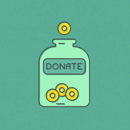 nonprofit: Money falling into jar with donate symbols on it - donation concept, charity illustration. Vector line style label for non-profit organization. Illustration