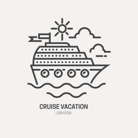 cruise ship: Line style logotype template with cruise ship.