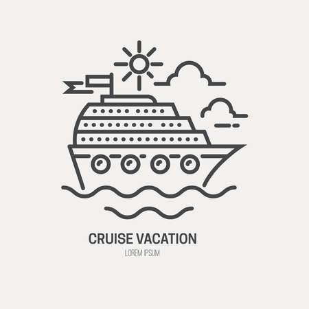 Linienstil Logo-Vorlage mit Kreuzfahrtschiff.