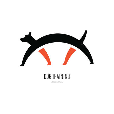 dog walker: Single logo with a dog for veterinarian clinic Illustration