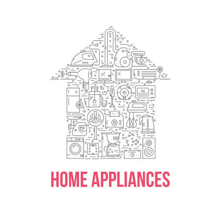 Different house appliances arranged in a shape of a house.