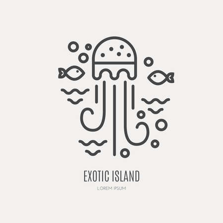 Line style logotype template with sea life - jellyfish and fish.