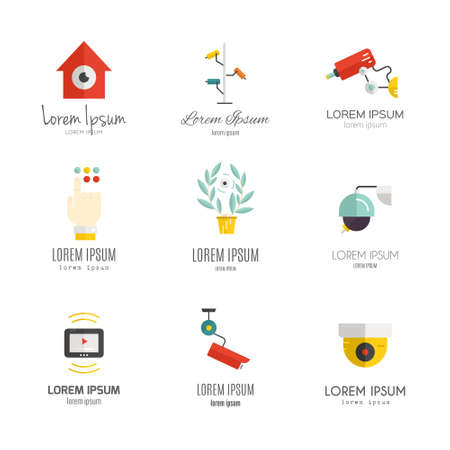 ourdoor: Set of vector logos with security and surveillance elements.