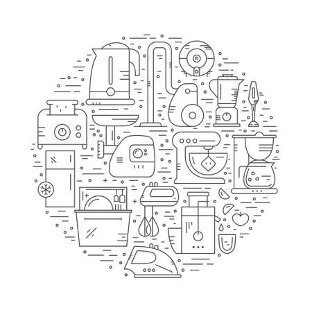 Vector illustration with house appliances arranged in a circle.