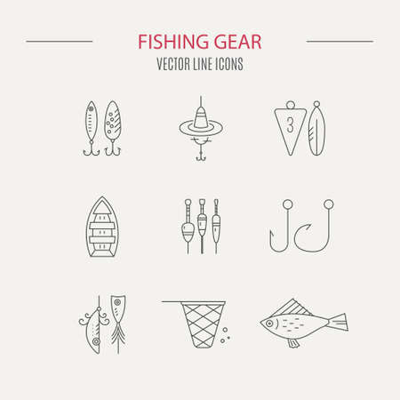 fishing gear: Vector line icons with fishing gear. Illustration