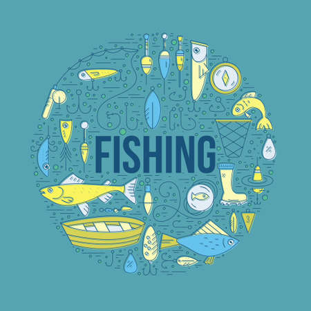 Fishing clip art element with a sign.