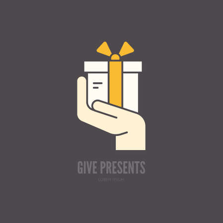 give: Hand holding a present - symbol for charity or donation event.