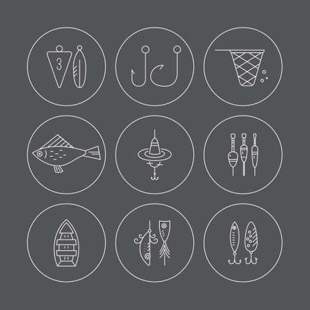 floater: Vector line icons with fishing gear. Illustration
