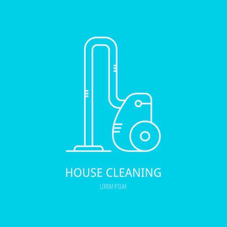 gospodarstwo domowe: Jedynka z logo graficzne zobrazowanie odkurzacza wykonane w stylu linii wektora. Ilustracja