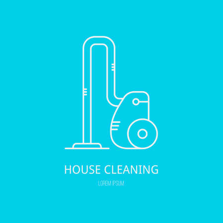 home appliance: Single logo with graphic illustration of a vacuum cleaner made in line style vector.