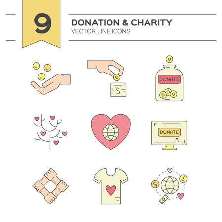 centers: Graphic elements for nonprofit organizations and donation centers. Illustration