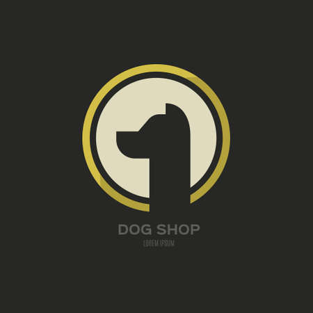 dog walker: Single circle logo with a dog shape for veterinarian clinic