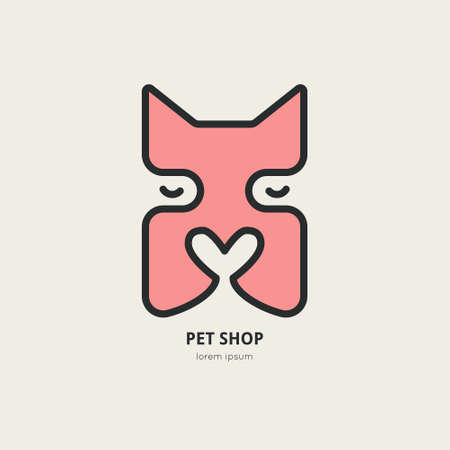 dog walker: Single logo with dog face with nose in a shape of a heart for pet clinic, pet shop, dog walker, dog training. Easy to use and edit. Vector logo series.