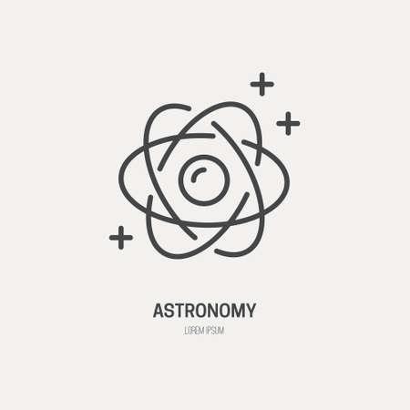 el atomo: símbolo sience realizado en el moderno vector de estilo de línea. concepto de átomo.