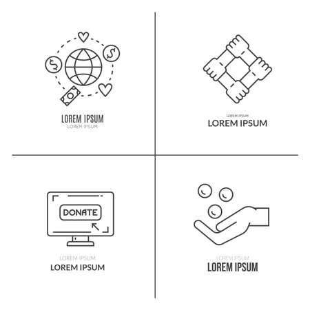 Elementos gráficos para las organizaciones sin fines de lucro y los centros de donación. Ilustración de vector