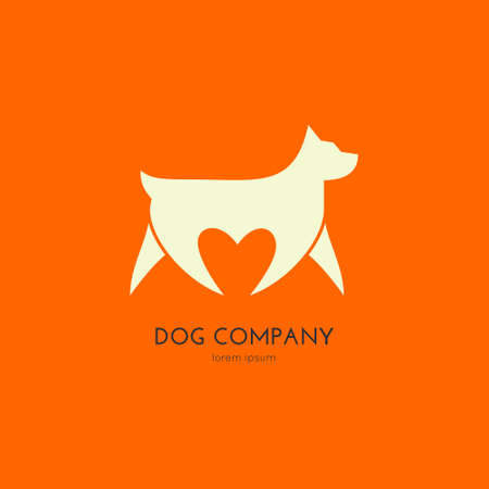 Single logo with a dog walking and a hert shape - for veterinarian clinic, pet shop, dog walker, dog training. Easy to use and edit. Vector logo series. Stock Illustratie