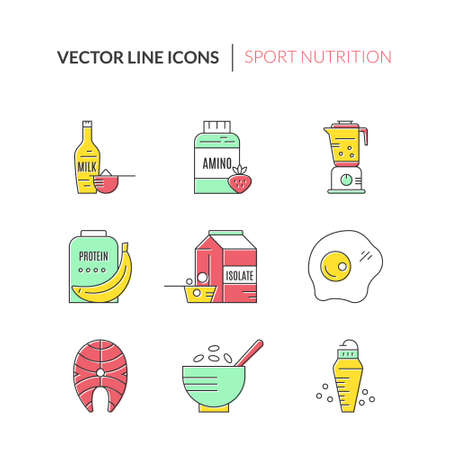 eating habits: Gym and workout diet symbols made in vector - protein shake, amino powder.