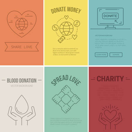 volunteering: Collection of vector banner templates with charity objects.