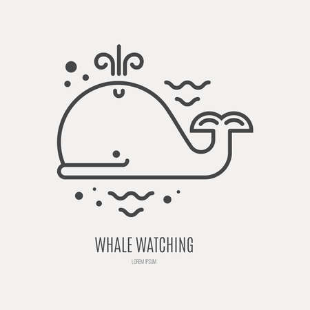 whale: Line style logotype template with cute whale. Illustration