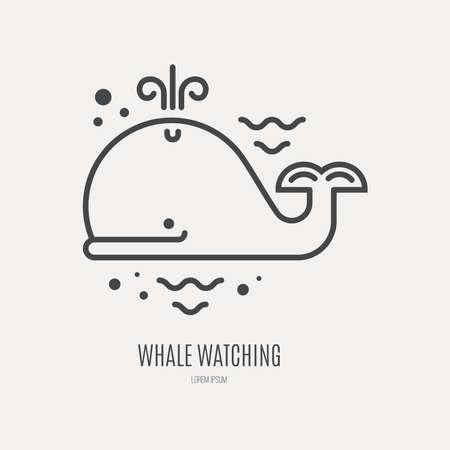 baleine: modèle de logotype de style de ligne avec baleine mignonne.