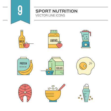Gym en training dieet symbolen in vector - proteïne shake, aminozuur poeder.