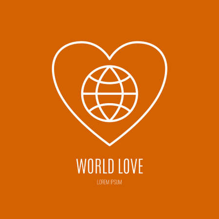charity work: Illustration of a globe with heart