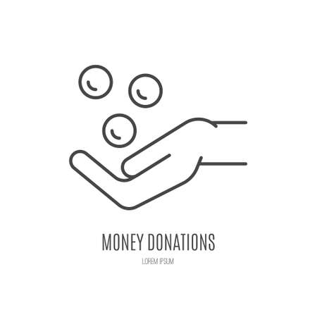 funding: Coins falling into a hand - charity symbol, donation illustration.