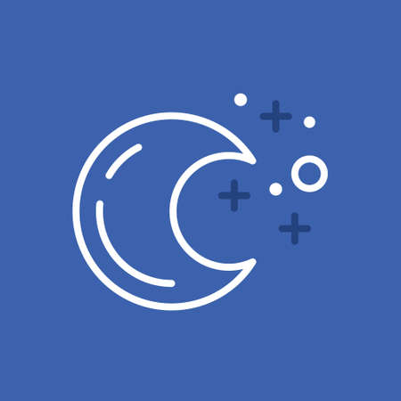 stile: Moon and stars made in trendy line stile vector.