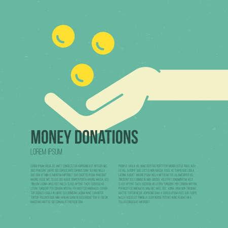 philanthropy: Hand with money - charity or donation concept. Illustration