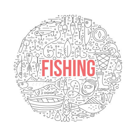 Fishing gear made in modern line style vector.