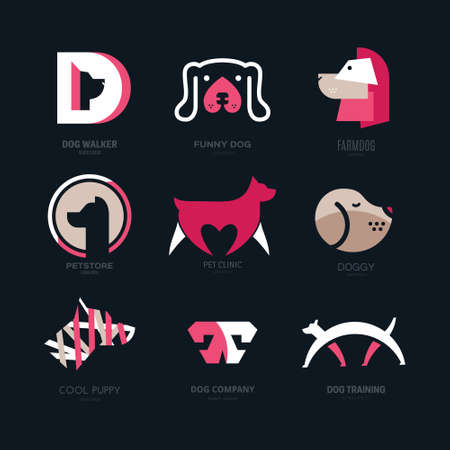 animal heads: Set of logotypes with dogs.