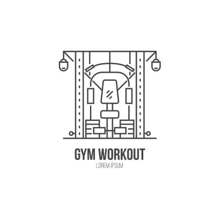 machine made: Single logo with a multi functional training machine made in modern line style vector. Illustration