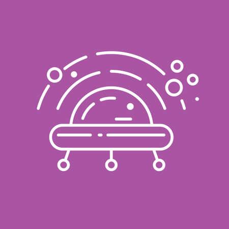 UFO or alien spaceship logo made in trendy line stile vector. Illustration