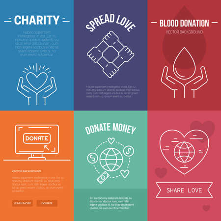 donations: Collection of vector banner templates with charity objects.