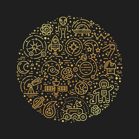 moon rover: Space icons arranged in a circle isolated on background.